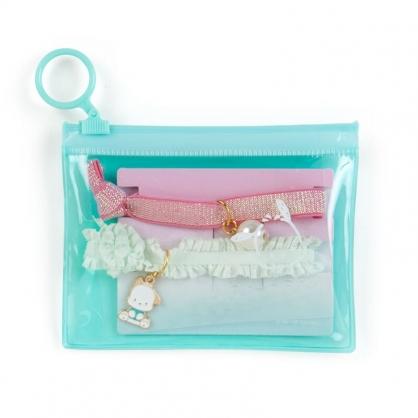 小禮堂 帕恰狗 蕾絲緞帶彈力髮圈 附收納包 造型髮束 造型手環 (2入 綠粉)