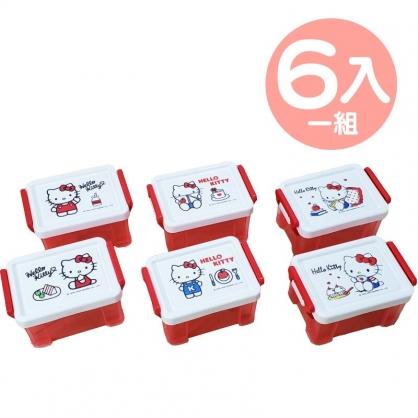 小禮堂 Hello Kitty 方形雙扣透明收納盒 塑膠收納盒 文具盒 小物盒 340ml (6入 紅 看書)