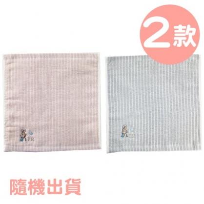 小禮堂 彼得兔 精繡純棉兒童方巾 小毛巾 手帕 25x25cm  (2款隨機)