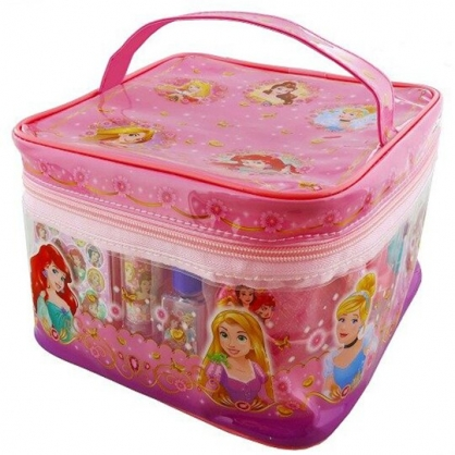 小禮堂 迪士尼 公主 首飾化妝玩具組 便條紙印章組 附手提包 扮家家酒 文具組 (粉)