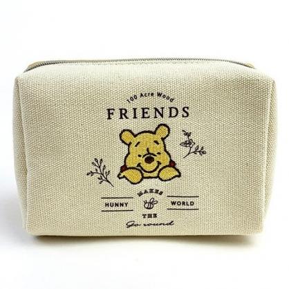 小禮堂 迪士尼 小熊維尼 方形帆布化妝包 皮質化妝包 小物收納包 (米黃 探頭)