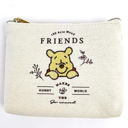 小禮堂 迪士尼 小熊維尼 帆布面紙零錢包 皮質零錢包 小物收納包 面紙包 (米黃 探頭)