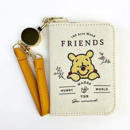 小禮堂 迪士尼 小熊維尼 帆布扣式伸縮易拉扣票卡夾  證件夾 車票夾 (米黃 探頭)