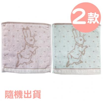 小禮堂 彼得兔 精繡純棉割絨兒童方巾 小毛巾 手帕 25x25cm (2款隨機)
