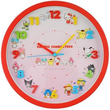 小禮堂 Sanrio大集合 連續秒針圓形壁掛鐘 壁鐘 時鐘 (紅白 立體數字)