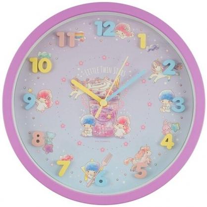 小禮堂 雙子星 連續秒針圓形壁掛鐘 壁鐘 時鐘 (紫藍 立體數字)