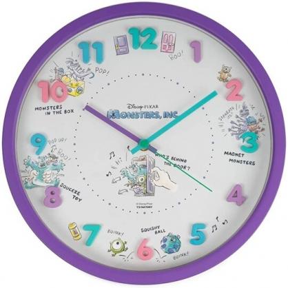 小禮堂 迪士尼 怪獸大學 連續秒針圓形壁掛鐘 壁鐘 時鐘 (紫綠 立體數字)