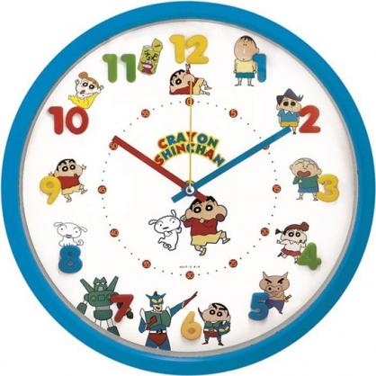 小禮堂 蠟筆小新 連續秒針圓形壁掛鐘 壁鐘 時鐘 (藍白 立體數字)
