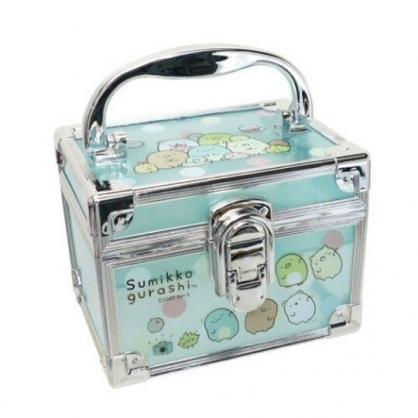 小禮堂 角落生物 方形透明手提收納盒 塑膠收納盒 文具盒 小物盒 (藍 銀邊)