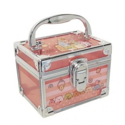 小禮堂 角落生物 方形透明手提收納盒 塑膠收納盒 文具盒 小物盒 (粉 銀邊)