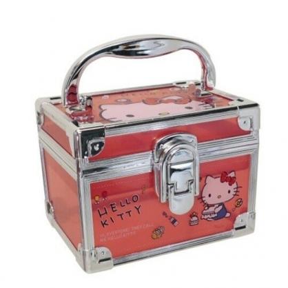 小禮堂 Hello Kitty 方形透明手提收納盒 塑膠收納盒 文具盒 小物盒 (紅 銀邊)