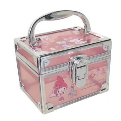 小禮堂 美樂蒂 方形透明手提收納盒 塑膠收納盒 文具盒 小物盒 (粉 銀邊)
