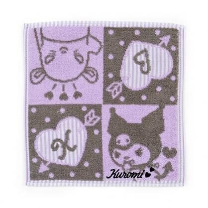 小禮堂 酷洛米 純棉無捻紗方巾 小毛巾 手帕 25x25cm (灰紫 四格圖)