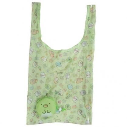 小禮堂 角落生物 企鵝 折疊尼龍環保購物袋 環保袋 側背袋 (綠 大臉)