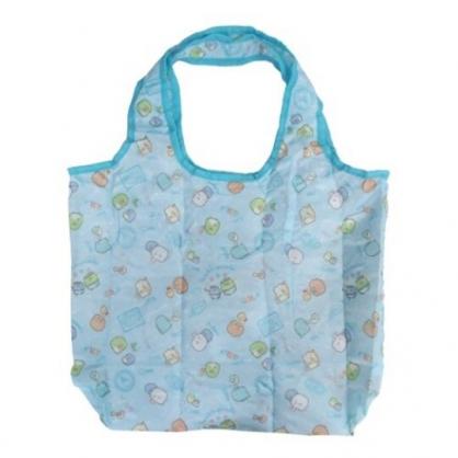 小禮堂 角落生物 折疊尼龍環保購物袋 保冷提袋 環保袋 側背袋 (藍 冰淇淋)