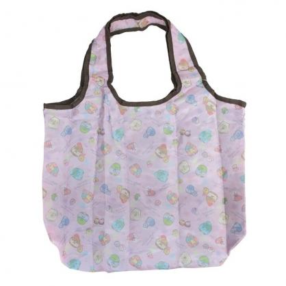 小禮堂 角落生物 折疊尼龍環保購物袋 保冷提袋 環保袋 側背袋 (粉 睡衣)