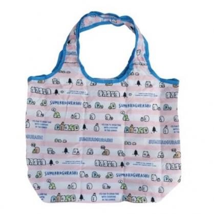 小禮堂 角落生物 折疊尼龍環保購物袋 保冷提袋 環保袋 側背袋 (粉藍 橫紋)
