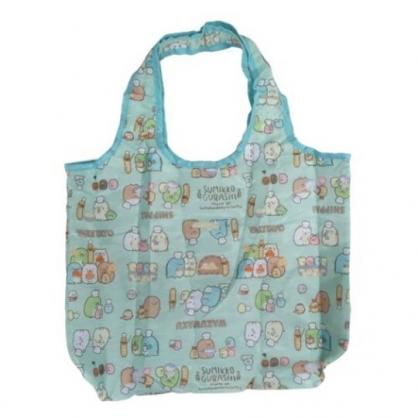 小禮堂 角落生物 折疊尼龍環保購物袋 保冷提袋 環保袋 側背袋 (綠 麵包)