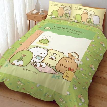 特價↘899 小禮堂 角落生物 雙人床包組 床套 床罩 床單 枕頭套 寢具組  5x6.2尺 (綠 樹下野餐)