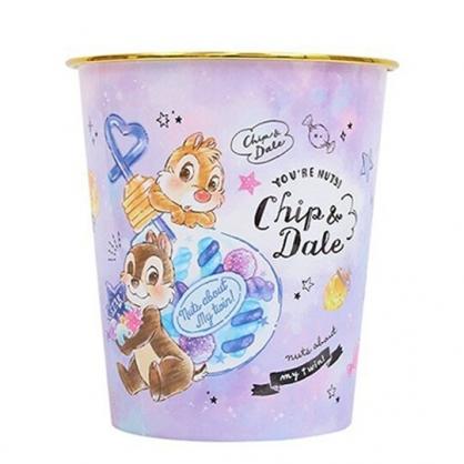 小禮堂 迪士尼 奇奇蒂蒂 圓形無蓋垃圾桶 圓垃圾桶 塑膠垃圾桶 (紫 燈泡罐)