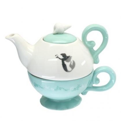 小禮堂 迪士尼 小美人魚 陶瓷杯壺組 咖啡杯壺 茶壺 陶瓷杯 (綠白 貝殼)