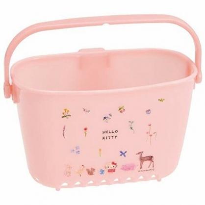 小禮堂 Hello Kitty 塑膠浴室收納籃 瀝水收納籃 瓶罐架 濾水籃 (淡粉 動物)