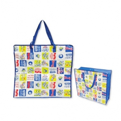 小禮堂 迪士尼 玩具總動員 方形防水購物袋 環保購物袋 衣物收納袋 側背袋 (藍白 格圖)