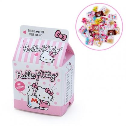小禮堂 Hello Kitty 牛奶盒造型果凍貼紙 透明貼紙 水晶貼紙 (粉白 超市文具)