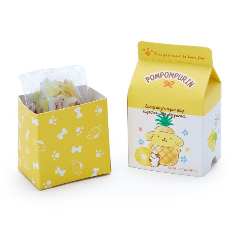 小禮堂 布丁狗 牛奶盒造型果凍貼紙 透明貼紙 水晶貼紙 (黃白 超市文具)