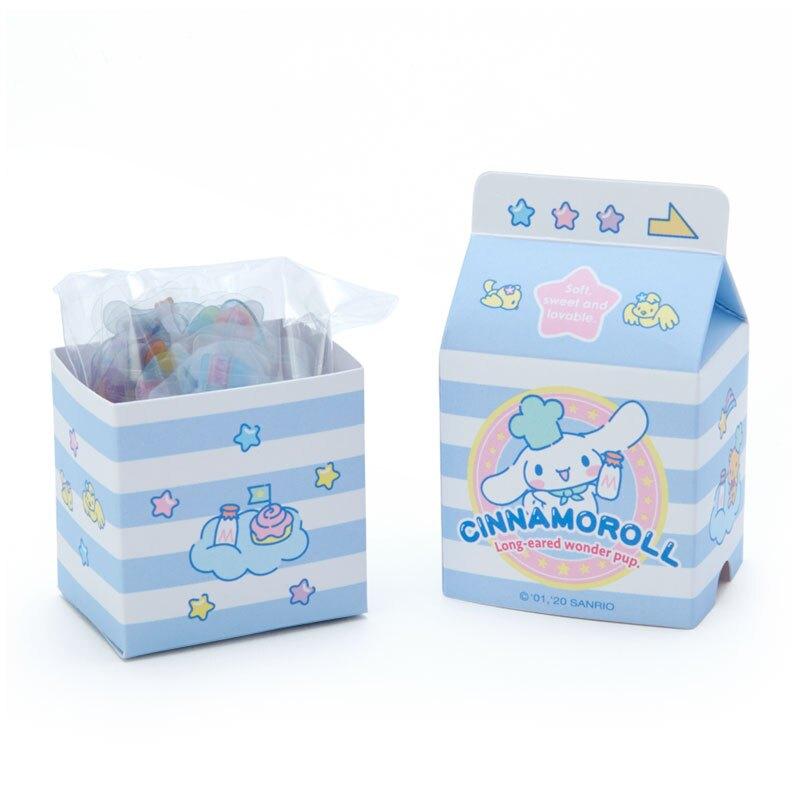 小禮堂 大耳狗 牛奶盒造型果凍貼紙 透明貼紙 水晶貼紙 (藍白 超市文具)