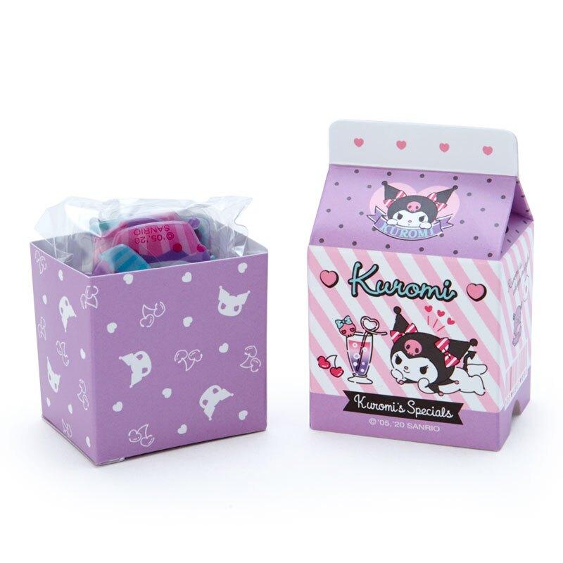 小禮堂 酷洛米 牛奶盒造型果凍貼紙 透明貼紙 水晶貼紙 (紫黑 超市文具)
