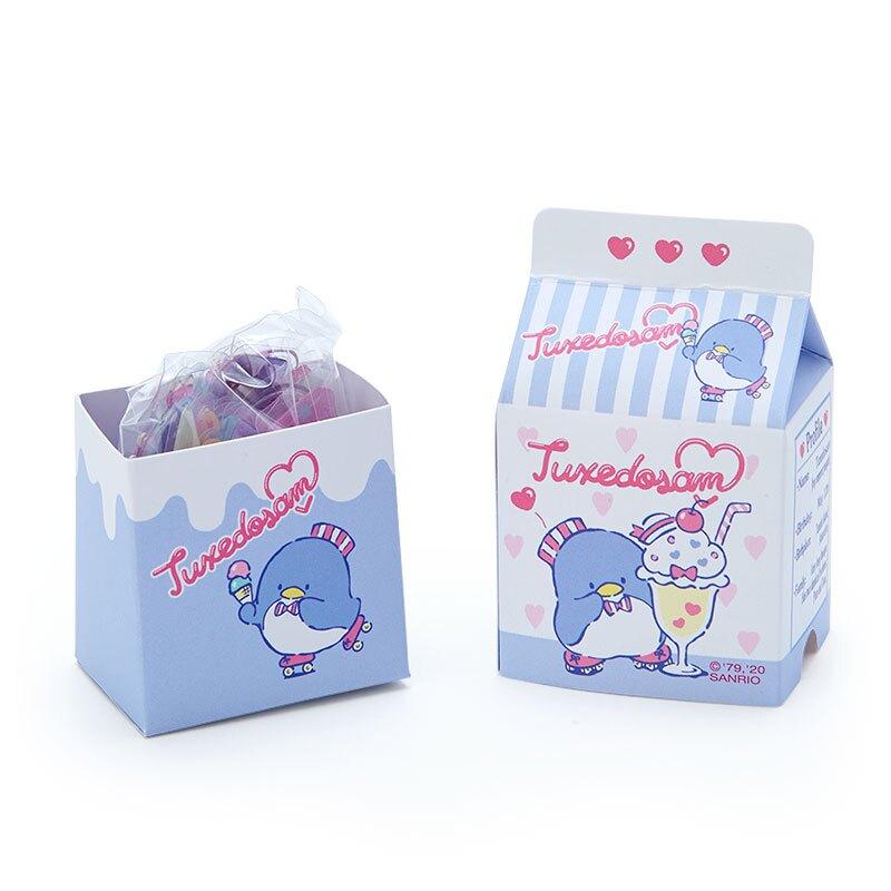 小禮堂 山姆企鵝 牛奶盒造型果凍貼紙 透明貼紙 水晶貼紙 (藍白 超市文具)