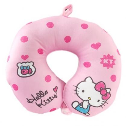 小禮堂 Hello Kitty 絨毛U型頸枕 護頸枕 旅行枕 午睡枕 (粉 點點)