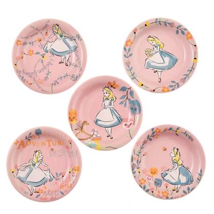 小禮堂 迪士尼 愛麗絲 迷你陶瓷圓盤組 點心盤 小菜盤 醬料碟 (5入 粉 拉裙)