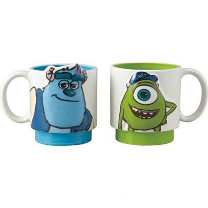 小禮堂 迪士尼 怪獸大學 陶瓷馬克杯組 咖啡杯 陶瓷杯 情侶對杯 265ml (2入 綠藍 大臉)
