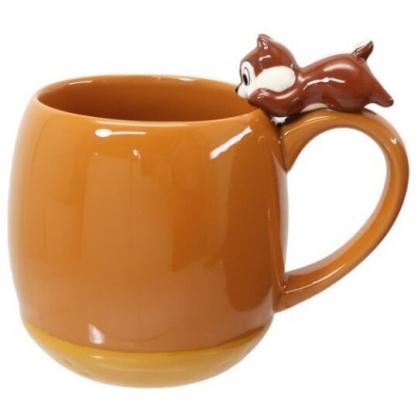 小禮堂 迪士尼 奇奇 造型陶瓷馬克杯 咖啡杯 陶瓷杯 茶杯 300ml (淺棕 杯邊玩偶)