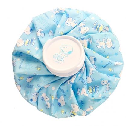 小禮堂 史努比 圓筒型尼龍冰敷袋 冰枕 退熱袋 (淡藍 滿版)