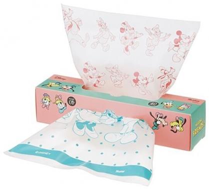 小禮堂 迪士尼 抽取式防油透明塑膠袋 食物分裝袋 餅乾袋 盒裝 (40入 粉綠 大臉)