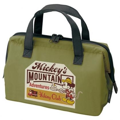 小禮堂 迪士尼 米奇 硬式支架尼龍保冷便當袋 保冷提袋 野餐袋 手提袋 (墨綠 煎蛋)