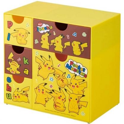 小禮堂 神奇寶貝 塑膠五抽收納盒 塑膠抽屜盒 文具盒 飾品盒 (黃棕 音符)