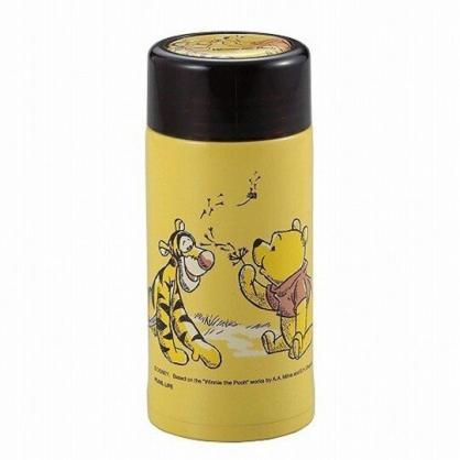 小禮堂 迪士尼 小熊維尼 迷你旋轉蓋保溫瓶 兒童水壺 隨身水壺 超輕量不鏽鋼 200ml (黃 蒲公英)