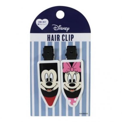 小禮堂 迪士尼 米奇米妮 日製 五角型鐵髮夾組 小髮夾 瀏海夾 造型髮夾 (2入 黑粉)