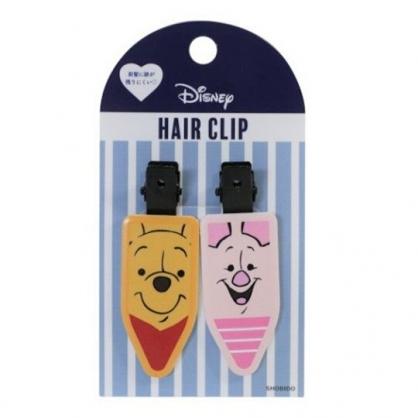 小禮堂 迪士尼 小熊維尼 日製 五角型鐵髮夾組 小髮夾 瀏海夾 造型髮夾 (2入 黃粉)