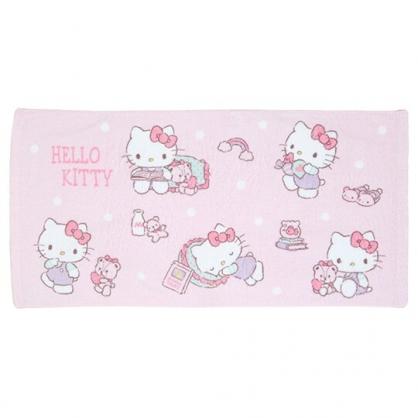 小禮堂 Hello Kitty 純棉無捻紗浴巾 純棉浴巾 身體毛巾 60x120cm (粉 小熊)