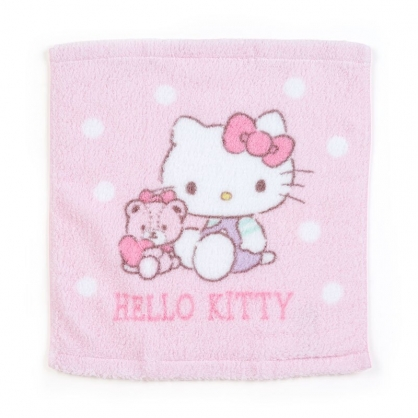 小禮堂 Hello Kitty 純棉無捻紗短毛巾 純棉毛巾 方形毛巾 34x36cm (粉 小熊)