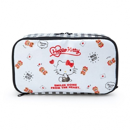 小禮堂 Hello Kitty 防水雙層掀蓋拉鍊筆袋 防水筆袋 鉛筆盒 盥洗包 (黑白 小熊)