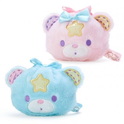 小禮堂 雙子星 造型絨毛束口袋組 旅行收納袋 小物收納袋 (2入 粉藍 45週年)