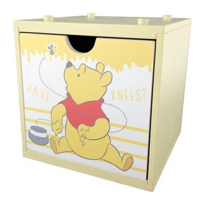 小禮堂 迪士尼 小熊維尼 木製積木盒 抽屜盒 文具盒 桌上型收納盒 (黃 蜜蜂)