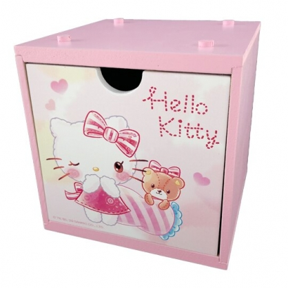小禮堂 Hello Kitty 木製積木盒 抽屜盒 文具盒 桌上型收納盒 (粉 眨眼)