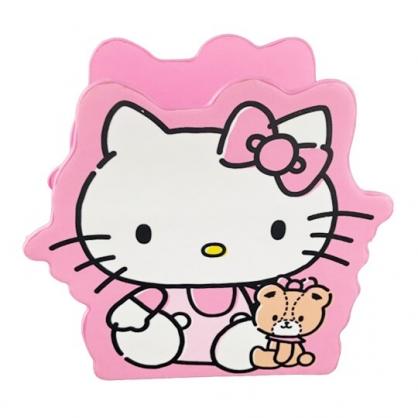 小禮堂 Hello Kitty 造型仿木皮質手機座 木筆筒 刷具筒 桌上型收納盒 (粉 小熊)